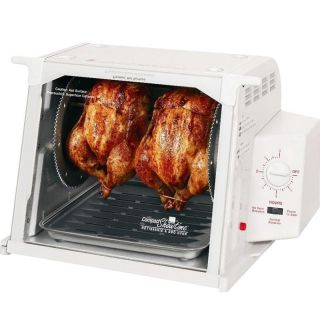 Ronco Showtime White Compact Rotisserie Oven BBQ w 3 Hour Automatic