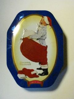 COLLECTIBLE TIN LIDDED SNICKERS CANDY NORMAN ROCKWELL CHRISTMAS THEME
