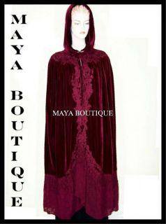 Cloak Opera Cape Purple Victorian Rep Long Velvet and Lace w Lining
