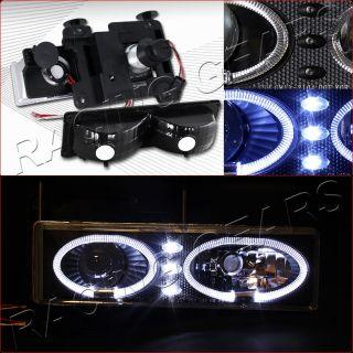 88 93 GMC C K 1500 2500 3500 Black LED Halo Rim Projector Headlight