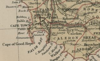 Cape Colony; South Africa Authentic 1889 Map showing Cities