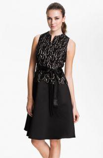 Patra Lace Appliqué Satin Fit & Flare Dress