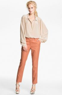 Rachel Zoe Malin Bishop Sleeve Silk Blouse