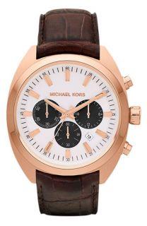 Michael Kors Dean Chronograph Leather Strap Watch