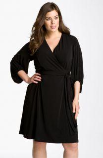 Donna Ricco Faux Wrap Jersey Dress (Plus)