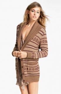 Haute Hippie Intarsia Merino Wool Cardigan