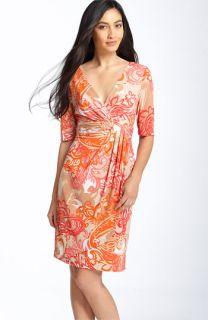Donna Ricco Print Faux Wrap Jersey Dress