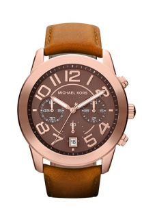 Michael Kors Mercer Chronograph Leather Strap Watch