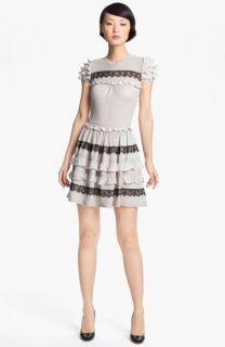 RED Valentino Ruffle & Lace Knit Dress