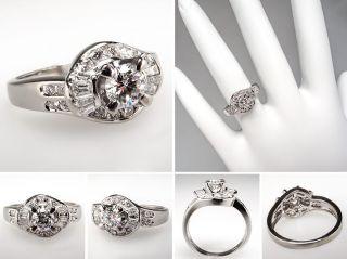 Genuine Diamond Cluster Engagement Ring Solid Platinum Fine Estate