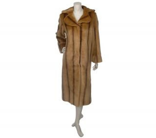Dennis Basso Full Length Striped Faux Fur Coat —