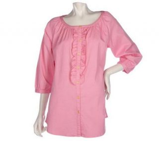 Denim & Co. 3/4 Sleeve Stretch Denim Peasant Shirt w/Ruffle Detail