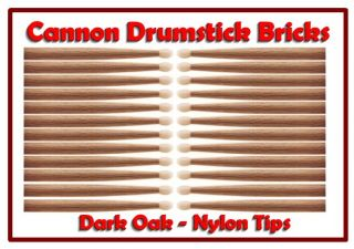 12 Pair Brick of Cannon 2B Nylon Tip Oak Drumsticks Rock Drum Sticks