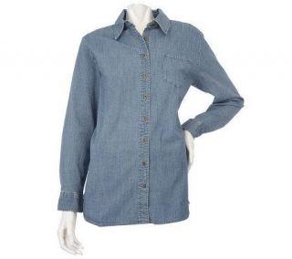 Denim & Co. Long Sleeve Stretch Denim Big Shirt with Side Slits