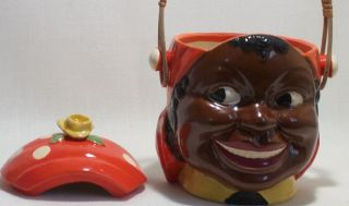 Black Negro Mammy Yellow Rose Cookie Jar Basket Handle Maruhon Ware (K