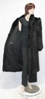 3326 Preowned Ranch Black Mink Fox Fur Trim Full Length Coat Stroller