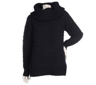 Aran Craft Merino Wool Cowl Neck Sweater —