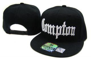 Compton Flat Bill Snap Baseball Cap Hat Black White