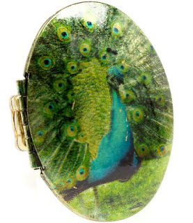 Peacock Hand painted Ladies Womans Fine Ring Beaded Stretch Band