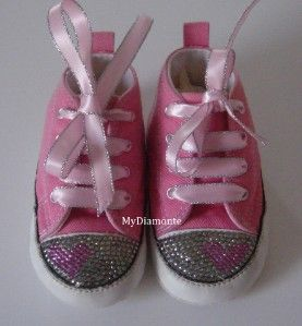 Pink Baby Converse Featuring Clear Swarovski Crystals Toddler/kids