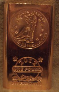 Heroes Military Pound 999 Copper Bullion Art Bar Pristine