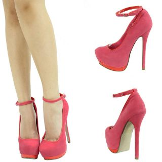 Coral Pink Mary Jane Ankle Strap High Heel Platform Stiletto Womens
