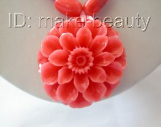 stunning pink baroque natural coral necklace flower Pendant b667