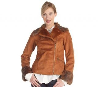 Luxe Rachel Zoe Faux Shearling Motorcycle Jacket with Faux Fur Trim