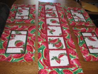 Handmade Quilted Table Runner 4 Placemats Watermelon Fruit Summer