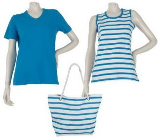Sport Savvy T Shirt, Tank, and Bag Set with Stripe Detail —