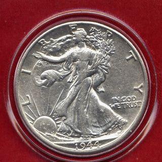 1944 D Walking Liberty Silver Half Dollar High Grade PQ Stunner US