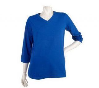 Denim & Co. Essentials Stretch 3/4 Sleeve V Neck Top —