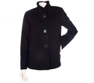 Ellen by Ellen Tracy Wool Button Front Paneled Swing Coat —