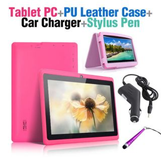 Android 4 0 Capacitive Tablet PC PU Leather Case Car Charger Stylus