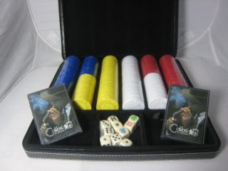 colibri black leather travel cigar humidor poker set