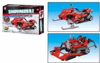 Toy Snowmobile and Bull Dozer Brick Construction Set with Moving Parts