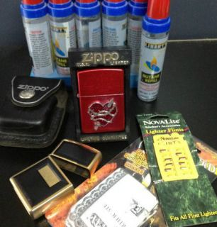 collectible zippo butane insert butane cans flints leather case