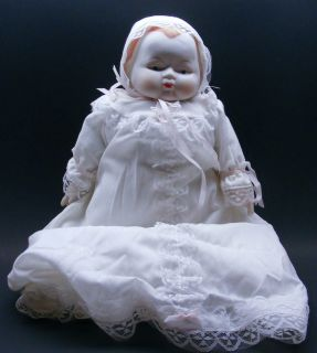 Porcelain Baby Doll Baptism Lace Dress Gown Collectible Doll