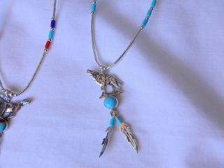 Sterling Silver 16 Necklace Wolf with 9 Pieces Turquoise
