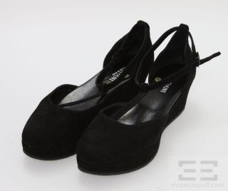 Cordani Black Suede T Strap Sloan Flat Platforms Size 39 New in Box
