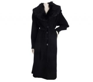 Dennis Basso Wool Blend Full Length Coat w/ Removable Faux Fur Collar