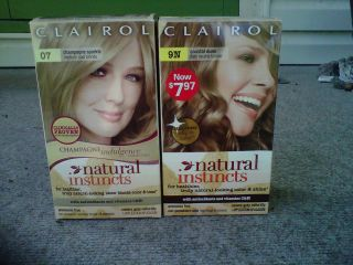 Clairol 07 and 9N Natural Instincts Hair Color w out conditioner