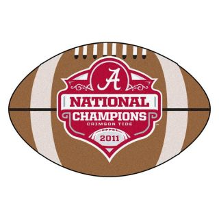 Crimson Tide 2011 BCS National Champions Football Shaped Area Rug Mat