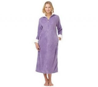 Stan Herman Plush Zip Front Robe with Textured Trim   A228543