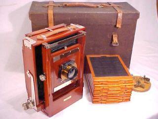 1911 Antique Conley Model B Folding 5x7 Wood View Camera w Film
