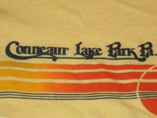 Vintage 80s Conneaut Lake Park Ringer T Shirt Medium Roller Coaster
