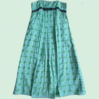Gorgeous Foley Corinne Strapless Cocktail Dress Green Blue Silk Sz S