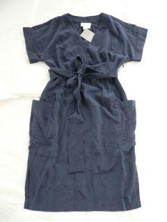 Anthropologie Corliss Dress Size 0 Maeve Silk Navy Blue