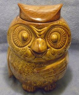 McCoy Owl Cookie Jar 204 Vintage Kitchen Pottery Ceramic Marked Woodsy