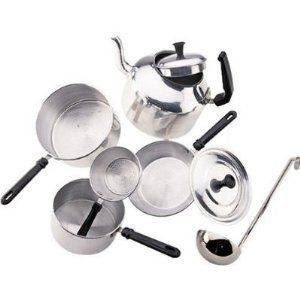 Cooking Set Child Sized Pot Tea Kettle with Lid Frying Pan Saucepan
